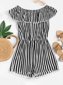 Pom Pom Striped Jumpsuit