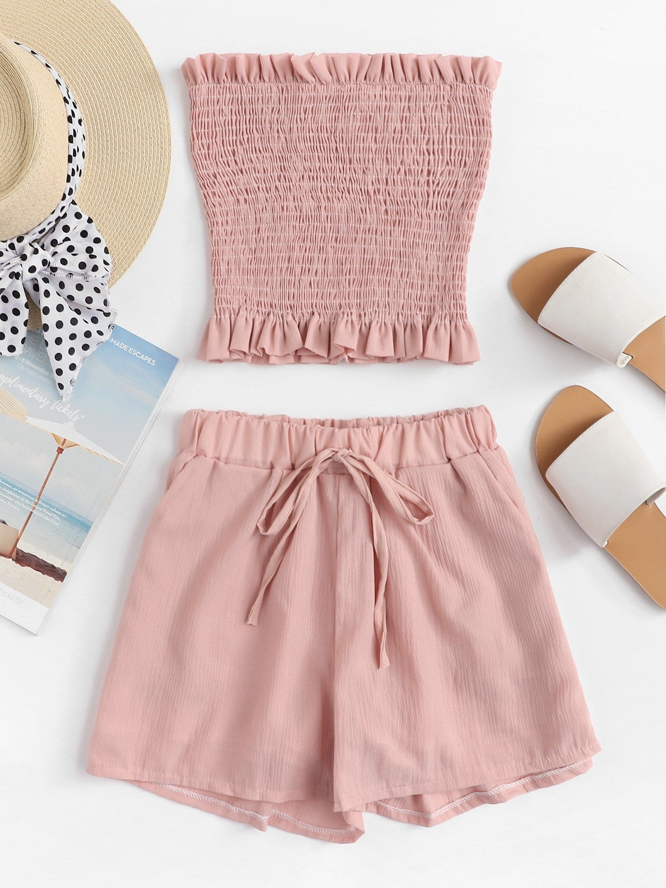 Frill Trim Pleated Tube Top With Shorts frill trim pleated bardot top