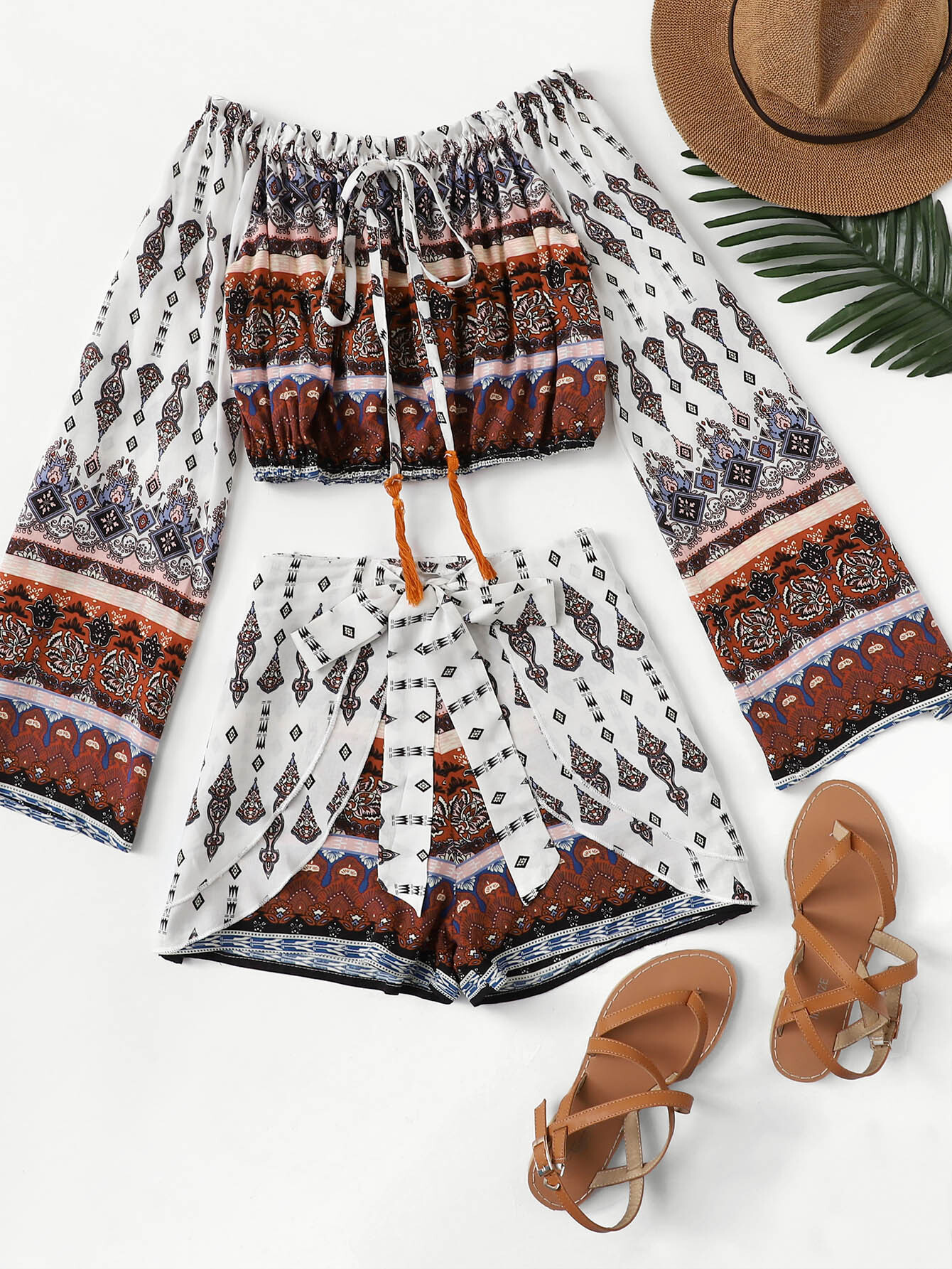 Drawstring Tribal Print Knot Two-piece Outfit