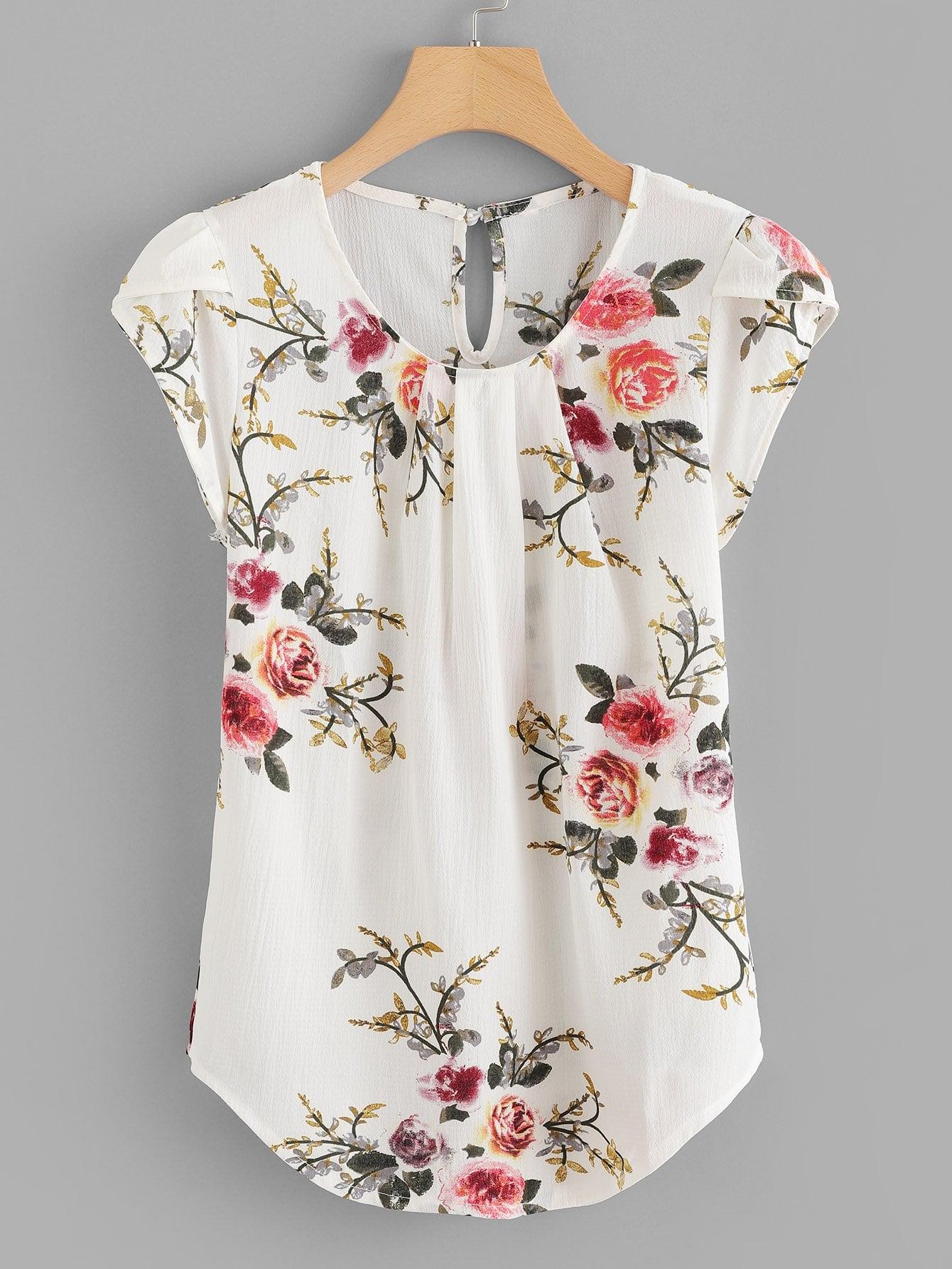 Petal Sleeve Florals Blouse petal sleeve self tie blouse