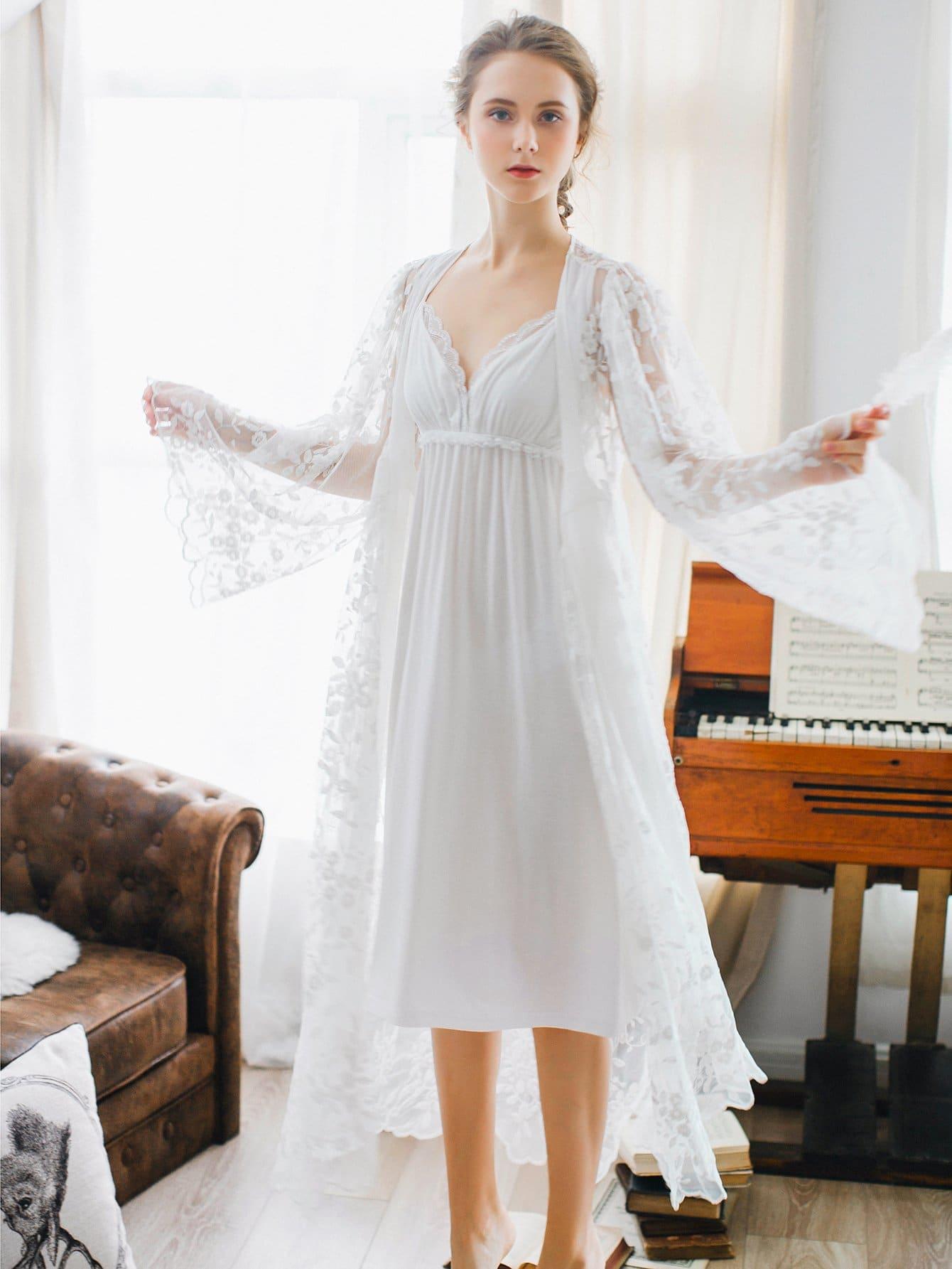 Lace Trim Night Dress With Robe