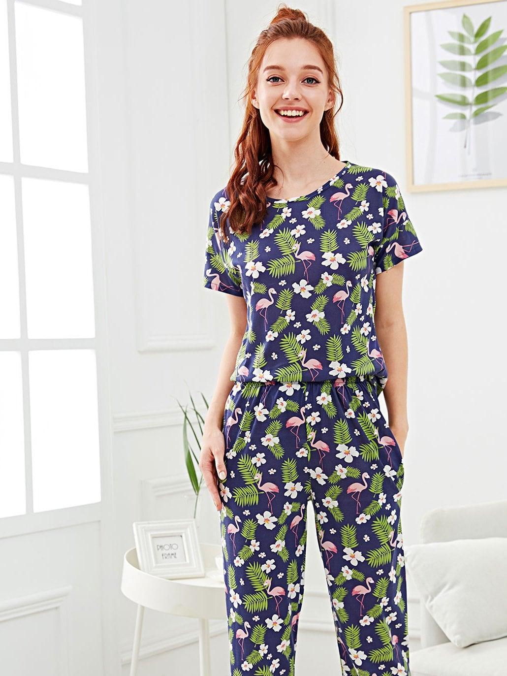 Купить Фламенко и цветочная печать Pajama Set, Poly, SheIn