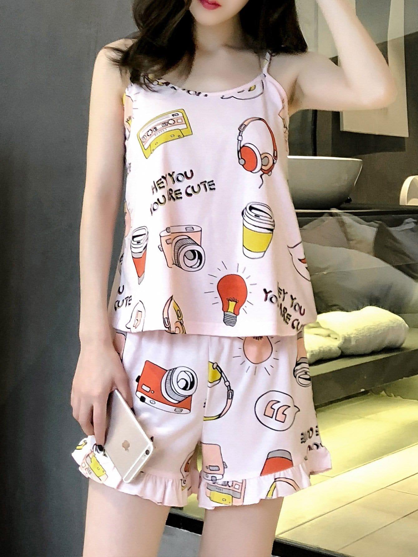 Купить Смешанная печать Ruffle Hem Pajama Set, null, SheIn