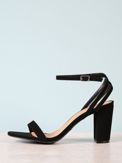 Open Toe Strappy Chunky Heel