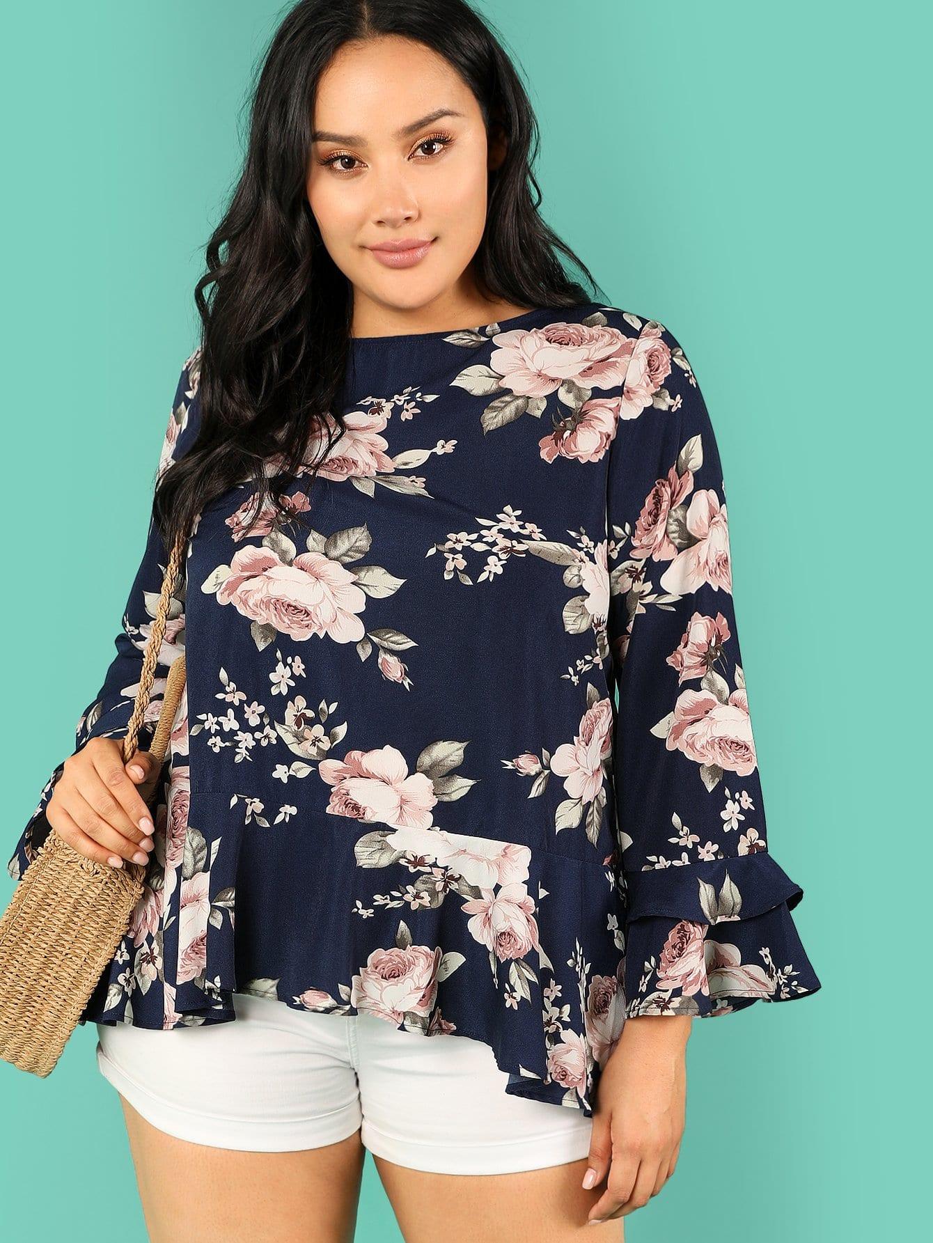 Plus Flower Print Ruffle Trim Blouse ruffle trim floral print blouse