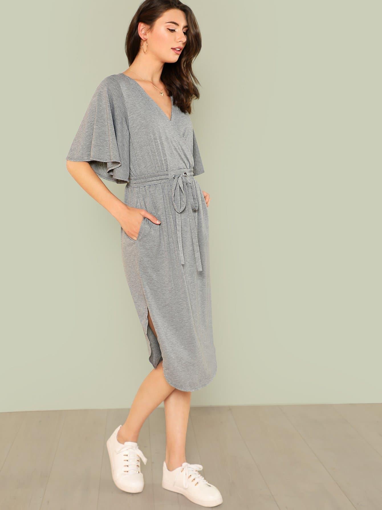 Tie Waist Bell Sleeve Heather Knit Wrap Dress bell sleeve rib knit dress