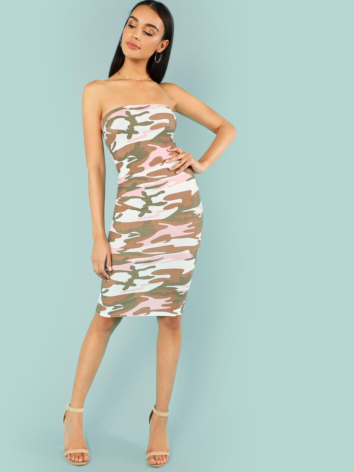 Camo Print Strapless Bodycon Dress camo print night dress