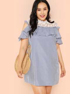 Plus Guipure Lace Yoke Stripe Ruffle Dress