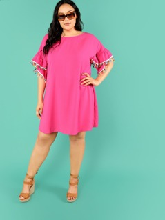 Neon Pink Plus Asymmetrical Ruffle Cuff Dress