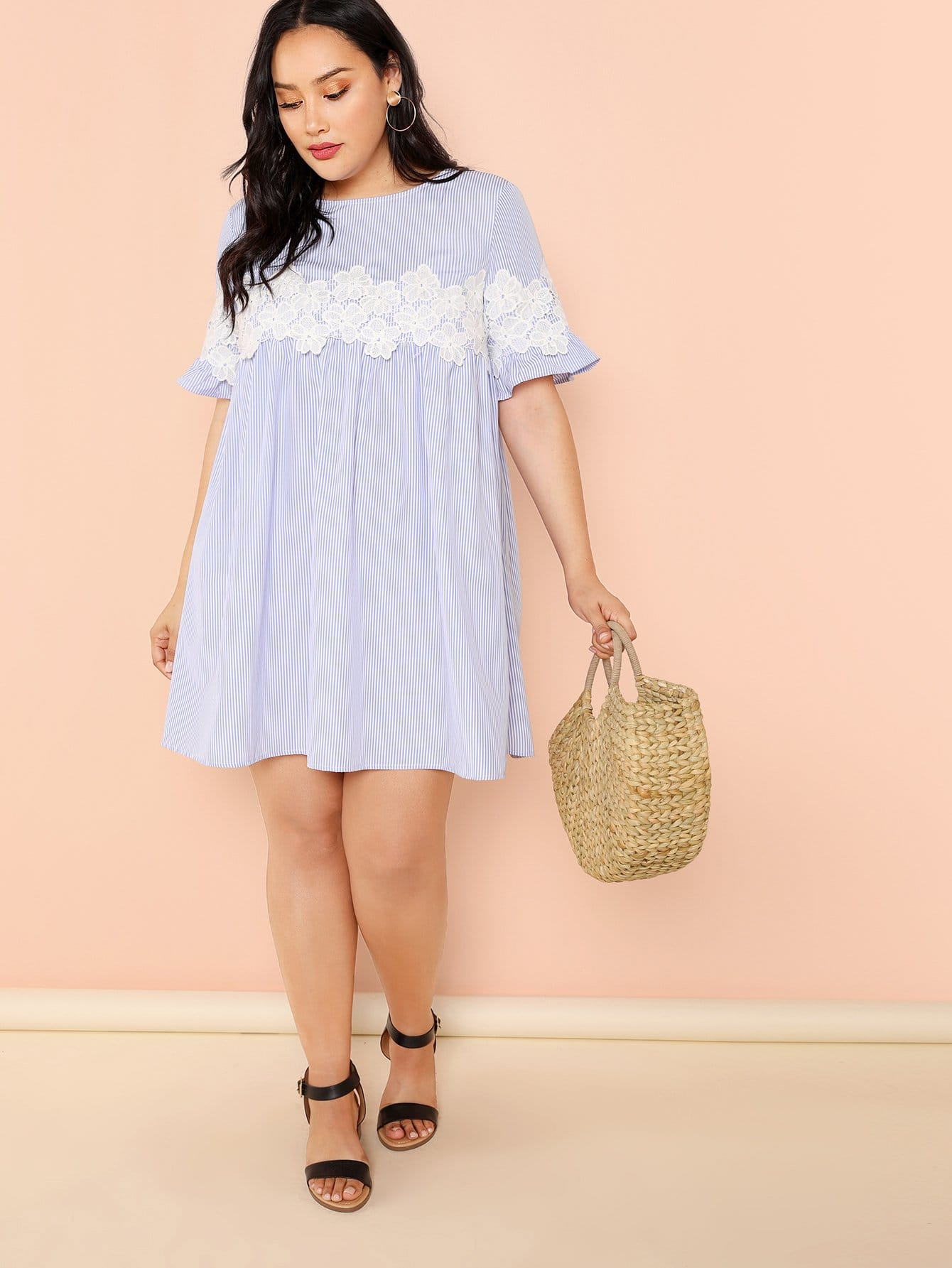 Lace Applique Pinstripe Swing Dress lace velvet swing dress