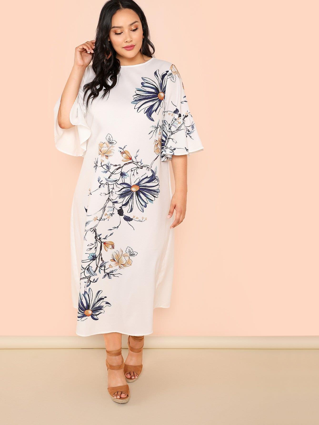 Trumpet Sleeve Botanical Print Dress trumpet sleeve botanical print dress