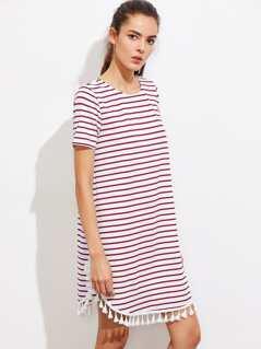 Tassel Trim Dolphin Hem Striped Dress