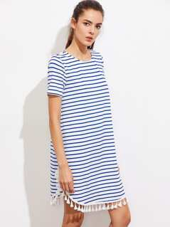 Tassel Trim Dolphin Hem Striped Dress