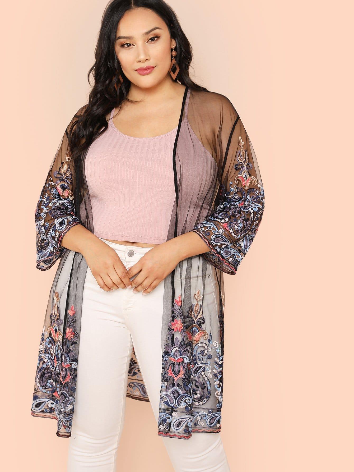 Купить Прозрачное кимоно с вышивкой цветы, Bianca Davies, SheIn