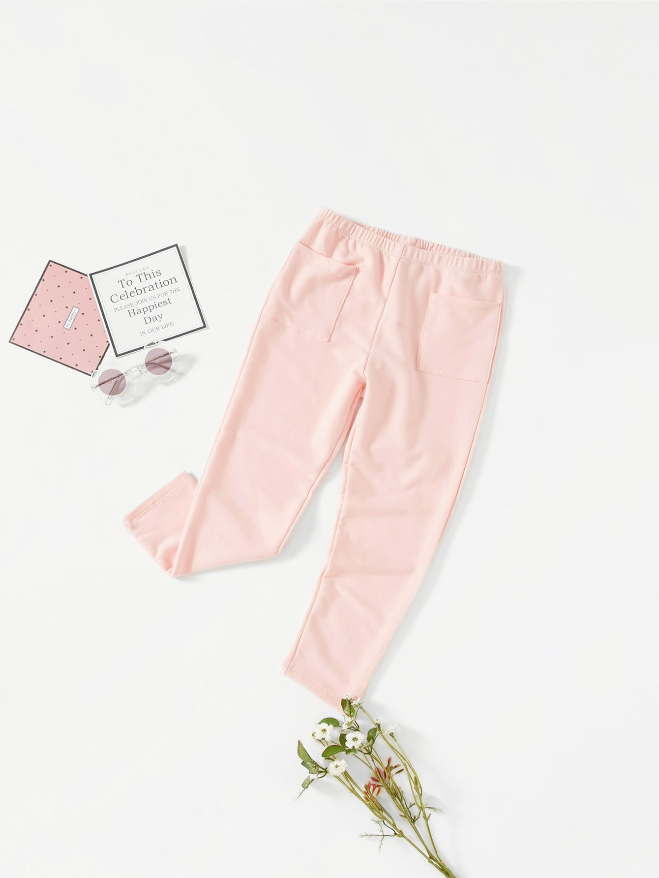 Elastic Waist Patch Pocket Front Pants pocket side elastic waist pants