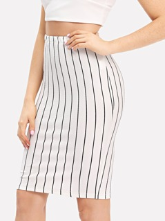 Exposed Zip Front Striped Bodycon Skirt