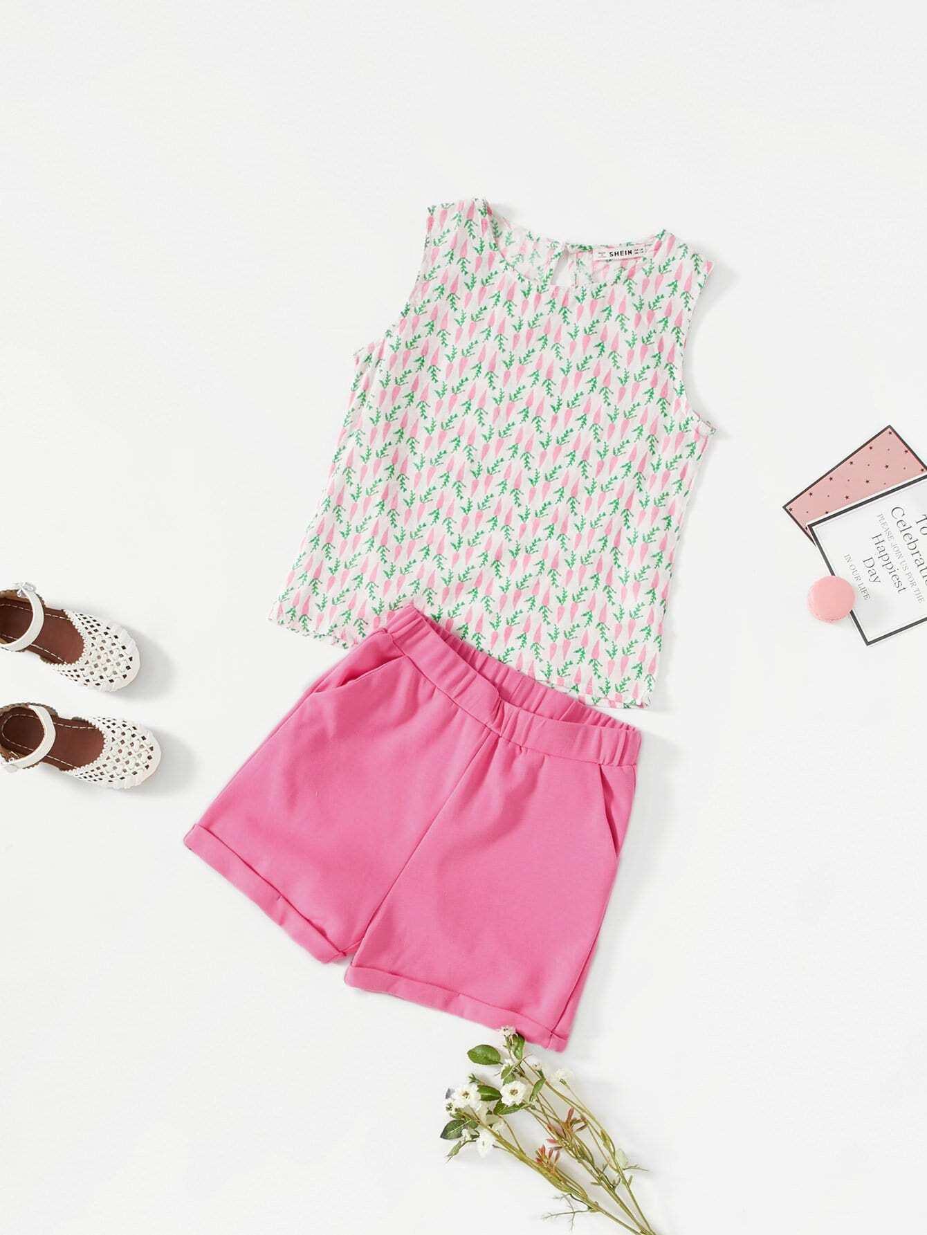 Girls Carrot Print Sleeveless Top & Cuffed Shorts Set давид п мой первый атлас мира isbn 9785389090071