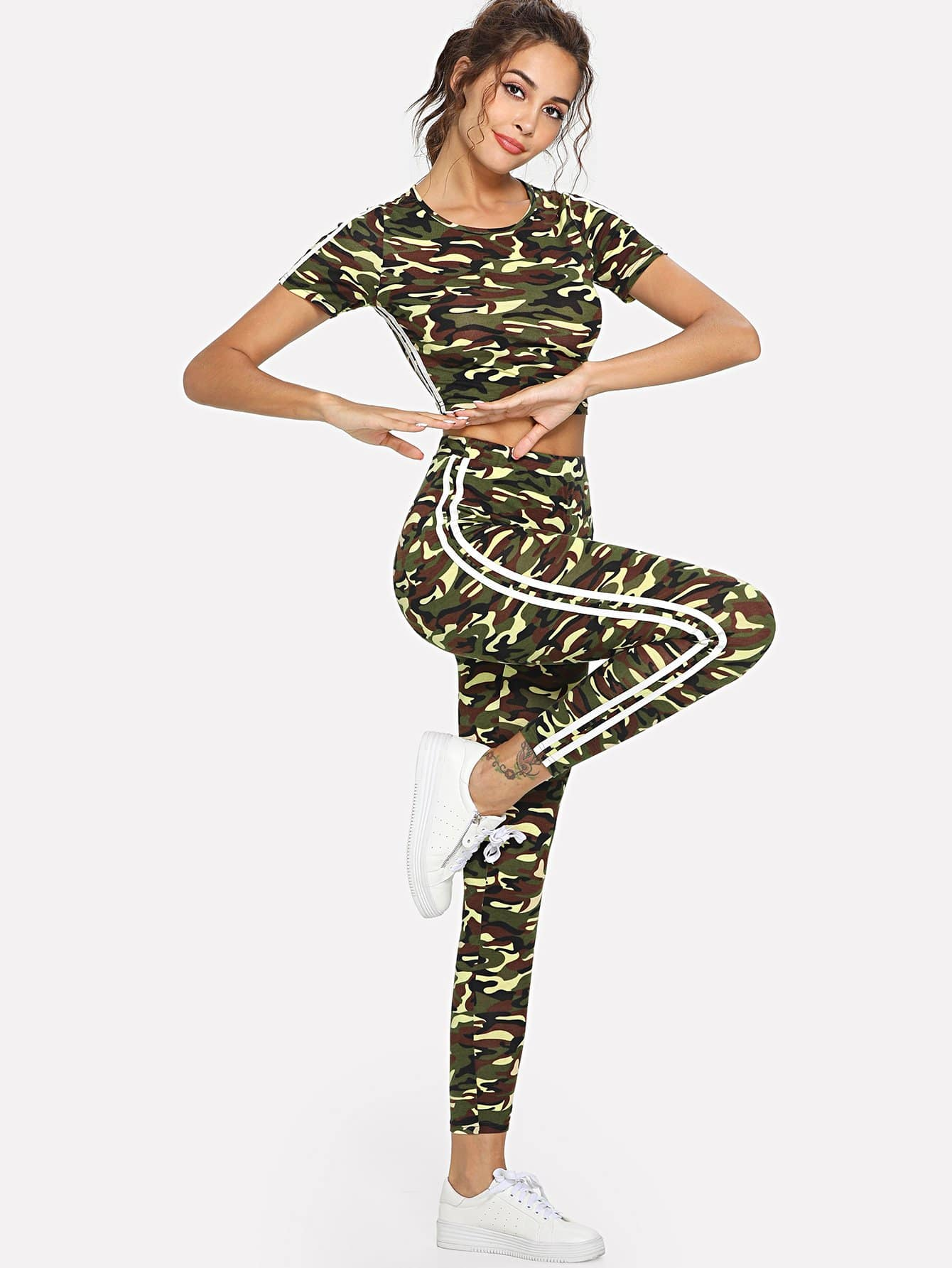Camo Print Crop Top and Drawstring Waist Leggings Set high waist camo print skinny leggings