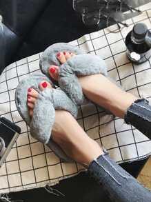 Toe Post Fluffy Slippers