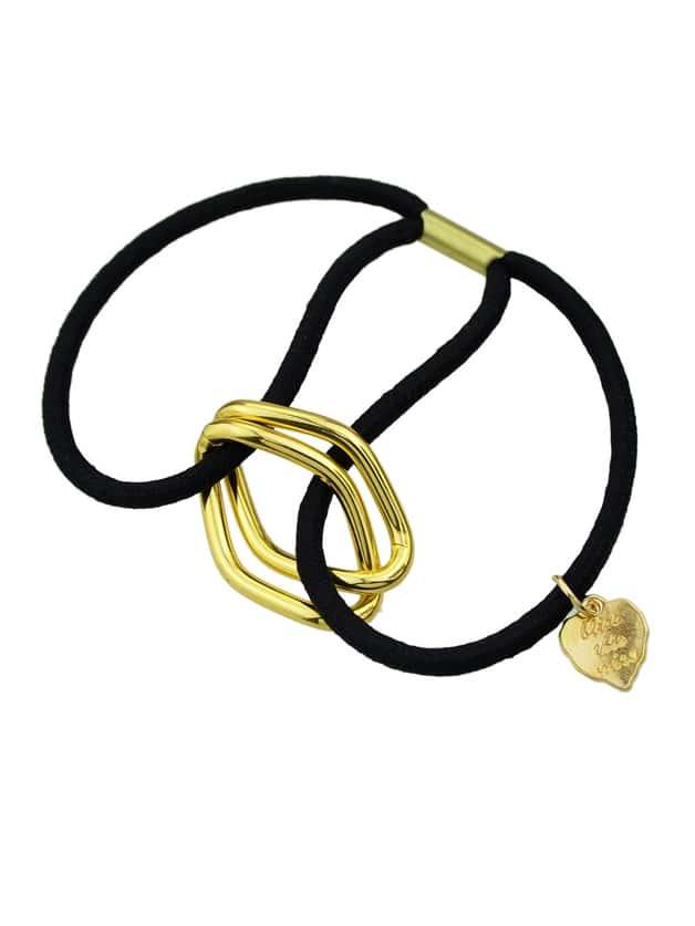 Black Wholesale Metallic Elastic Hair Rope Band