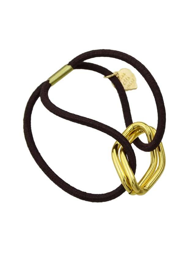 Coffee Wholesale Metallic Black Elastic Hair Rope Band