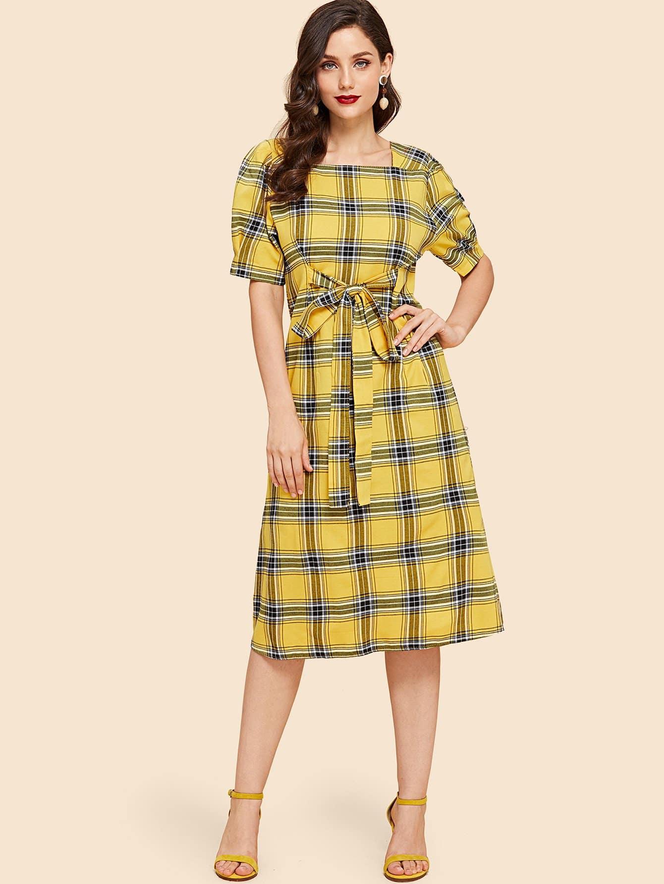 Tartan Plaid Tie Waist Dress