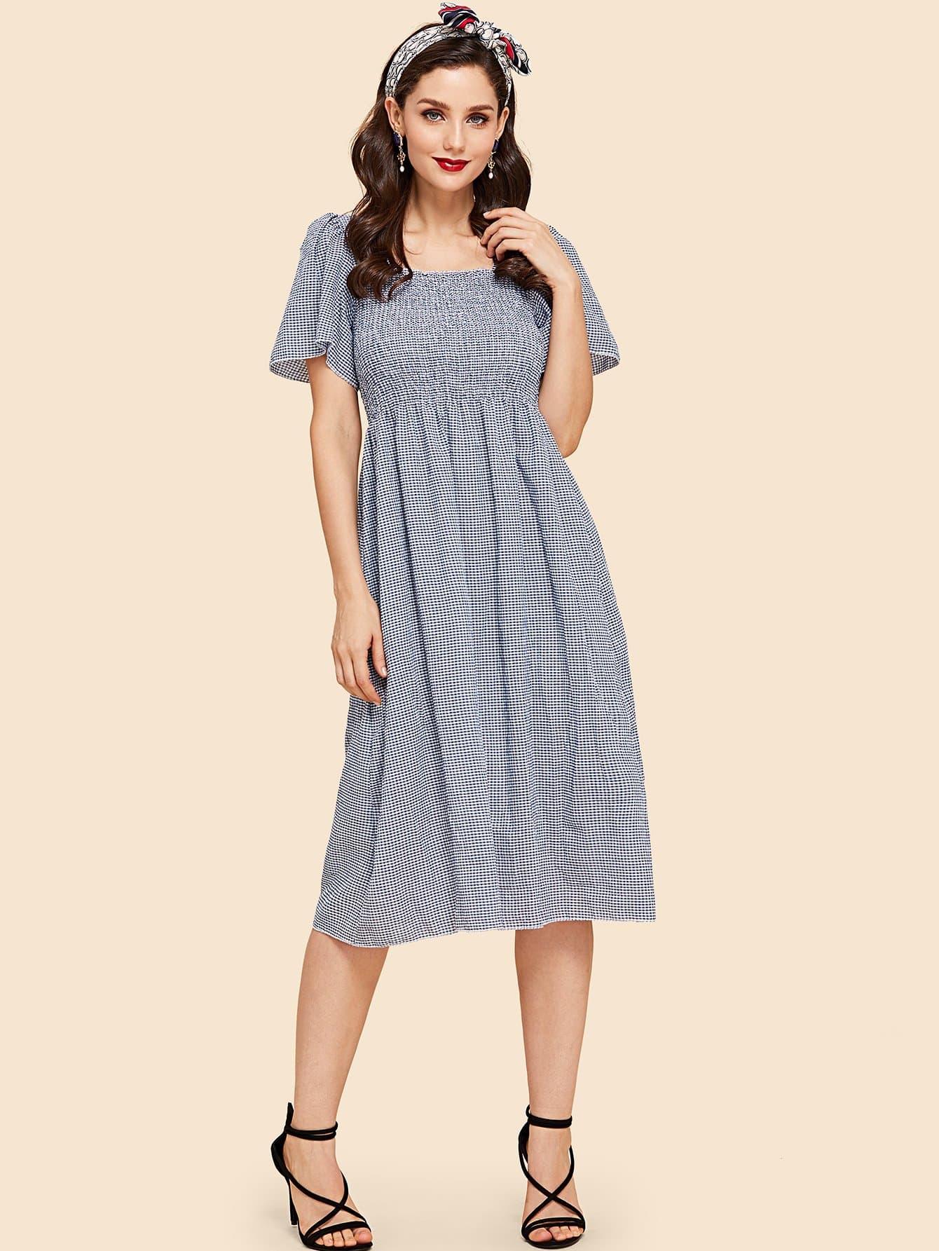 Bell Sleeve Crinkle Plaid Dress