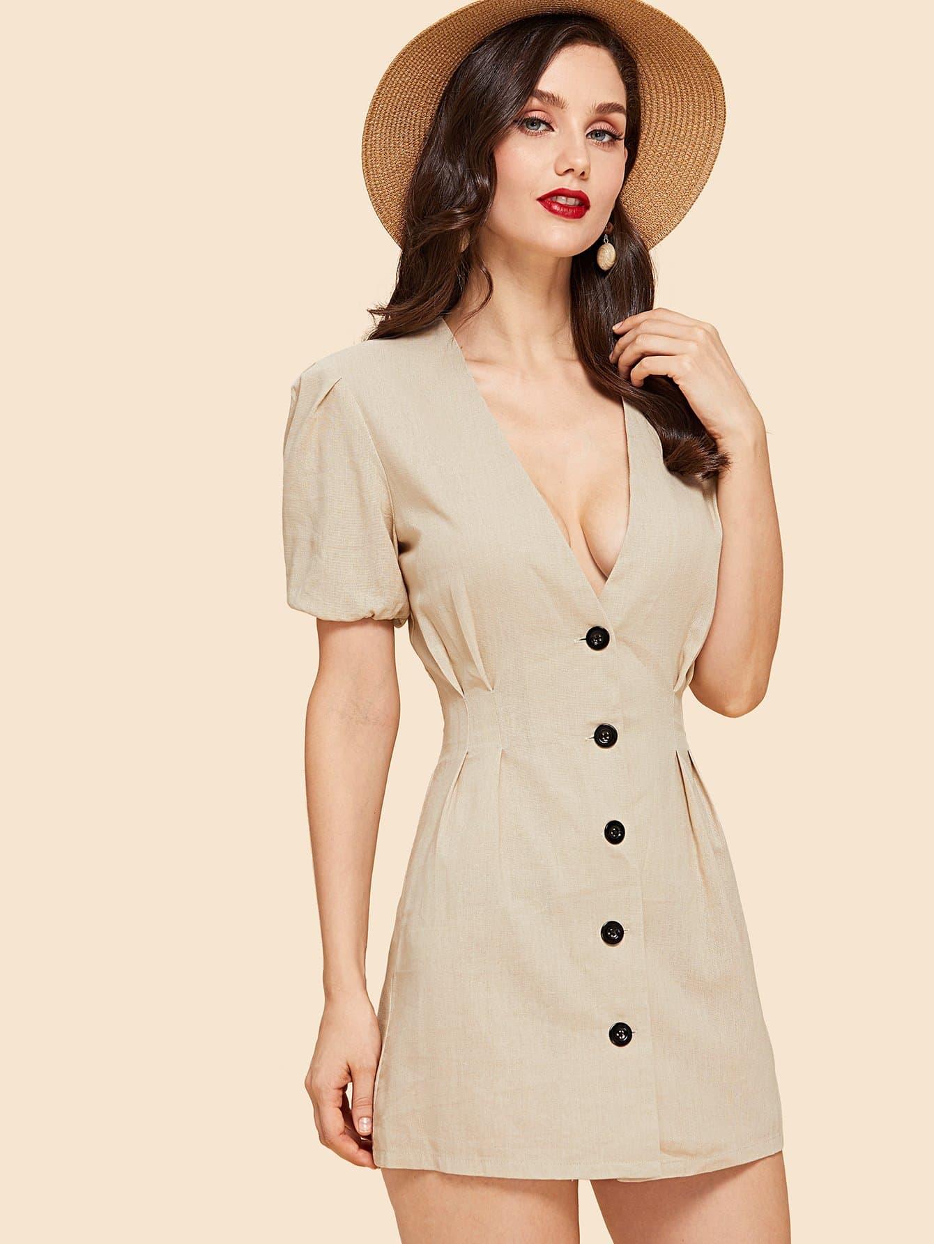 Купить Платье V-образным вырезом с кнопкой спереди, Julie H., SheIn