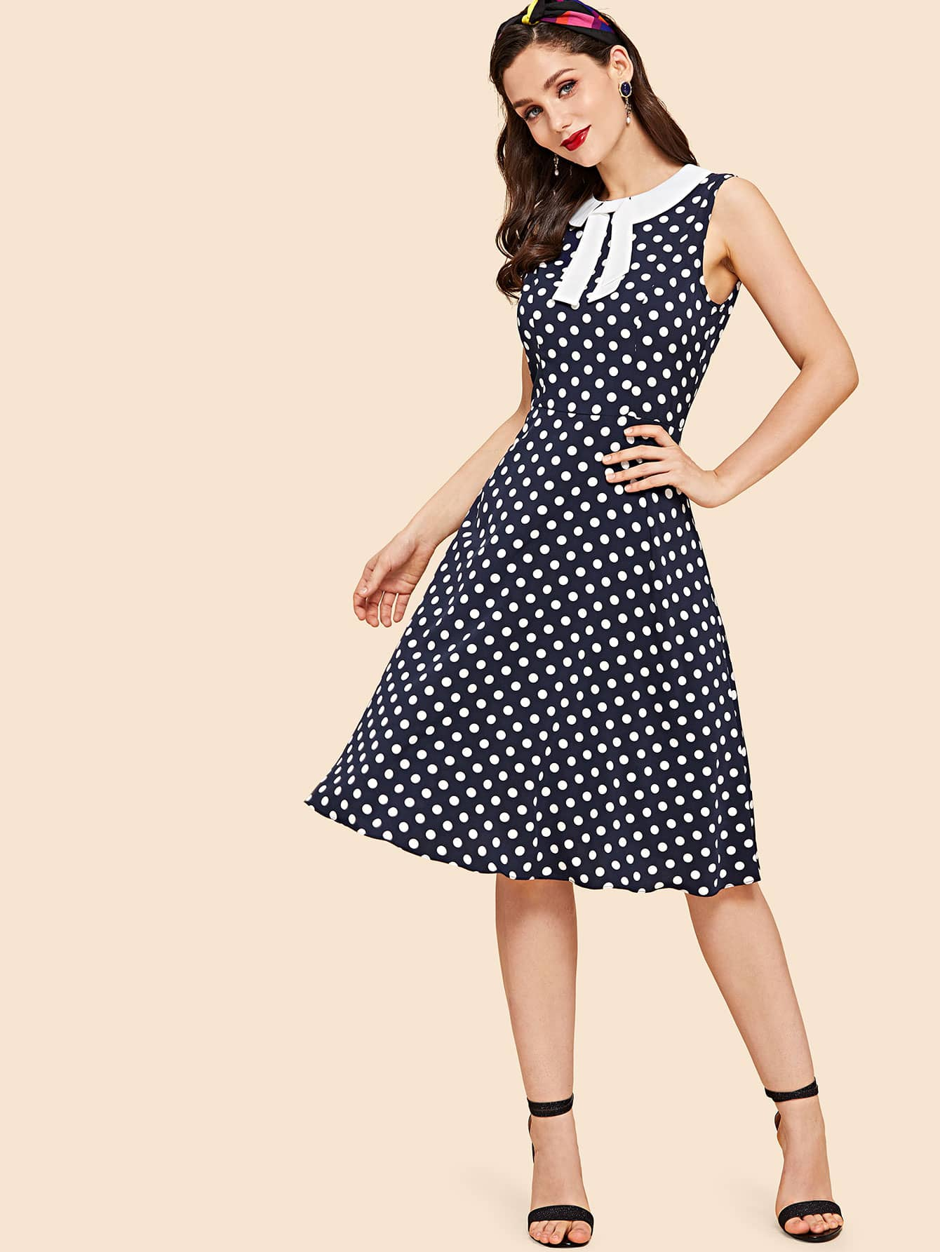Купить Печатное платье из гороха с контрастным воротником, Julie H., SheIn