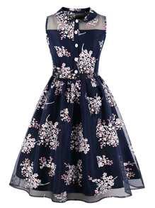 Floral Print Mesh Contrast Shirt Dress