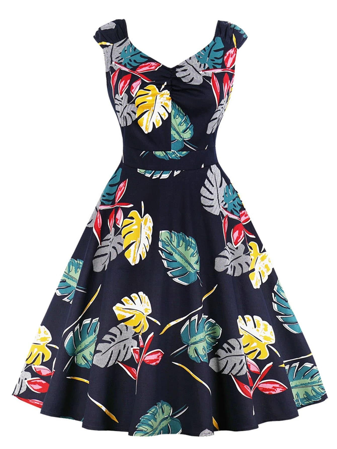 Leaf Print Flare Dress