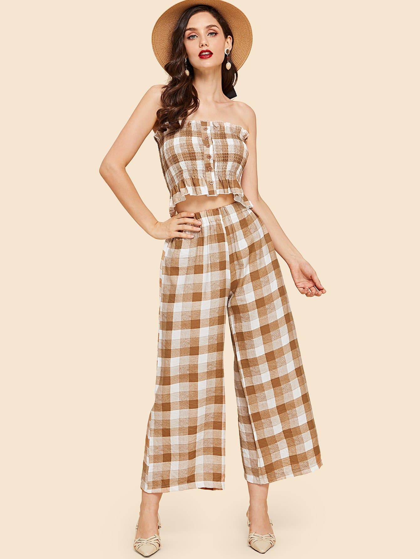 Check Plaid Bandeau Top & Wide Leg Pants
