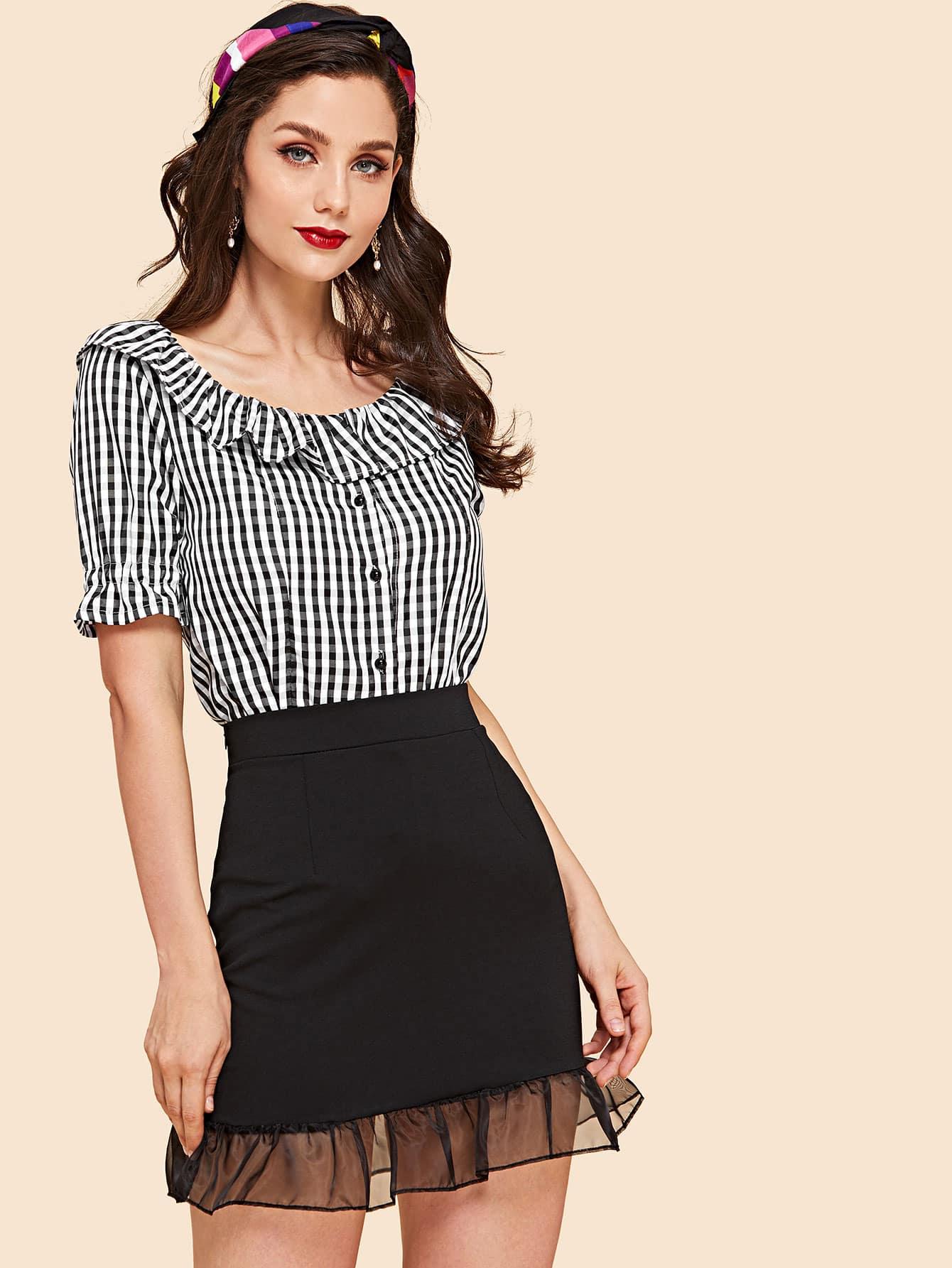 Ruffle Neck Plaid Top & Mesh Contrast Skirt