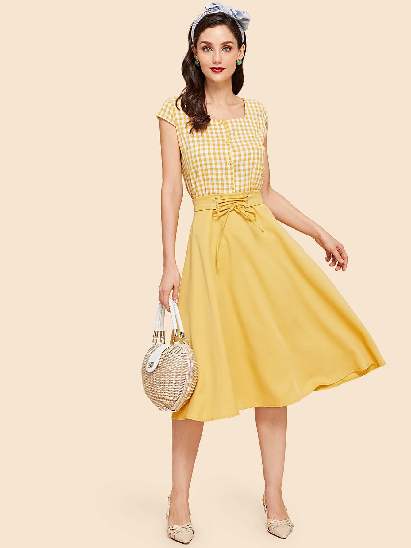 Plaid Contrast Lace Up Waist Dress