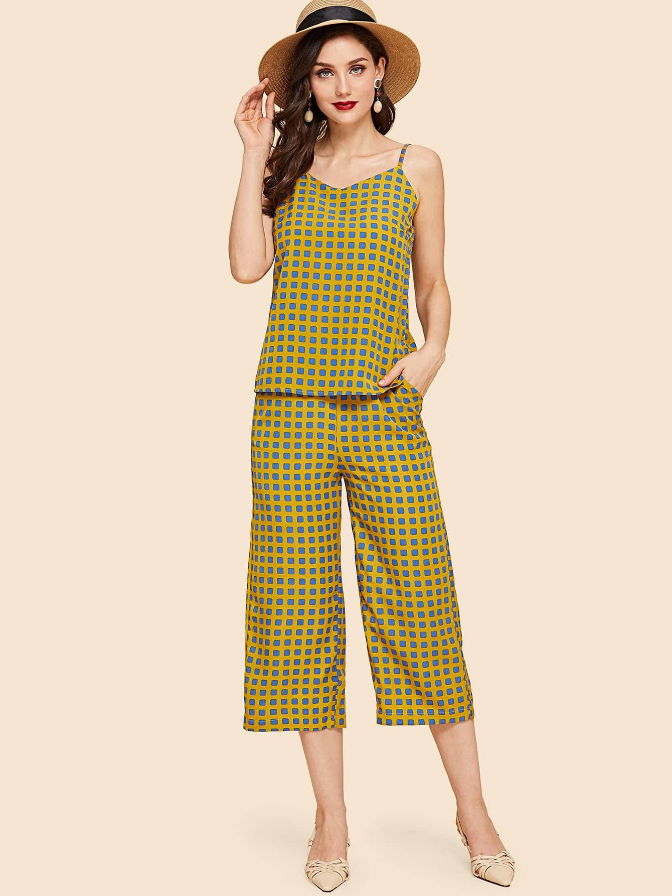 Plaid Cami Top & Wide Leg Pants