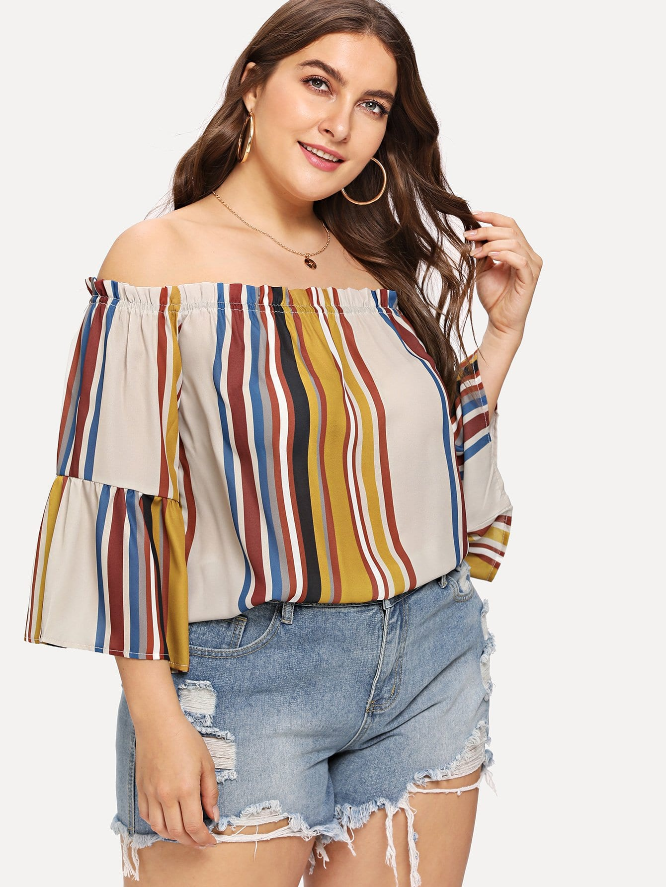 Купить Блузка с полосками и открытыми плечами, Franziska, SheIn