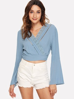 Ladder Lace Insert Wrap Top