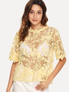 Floral Lace Applique Embroidered Mesh Top