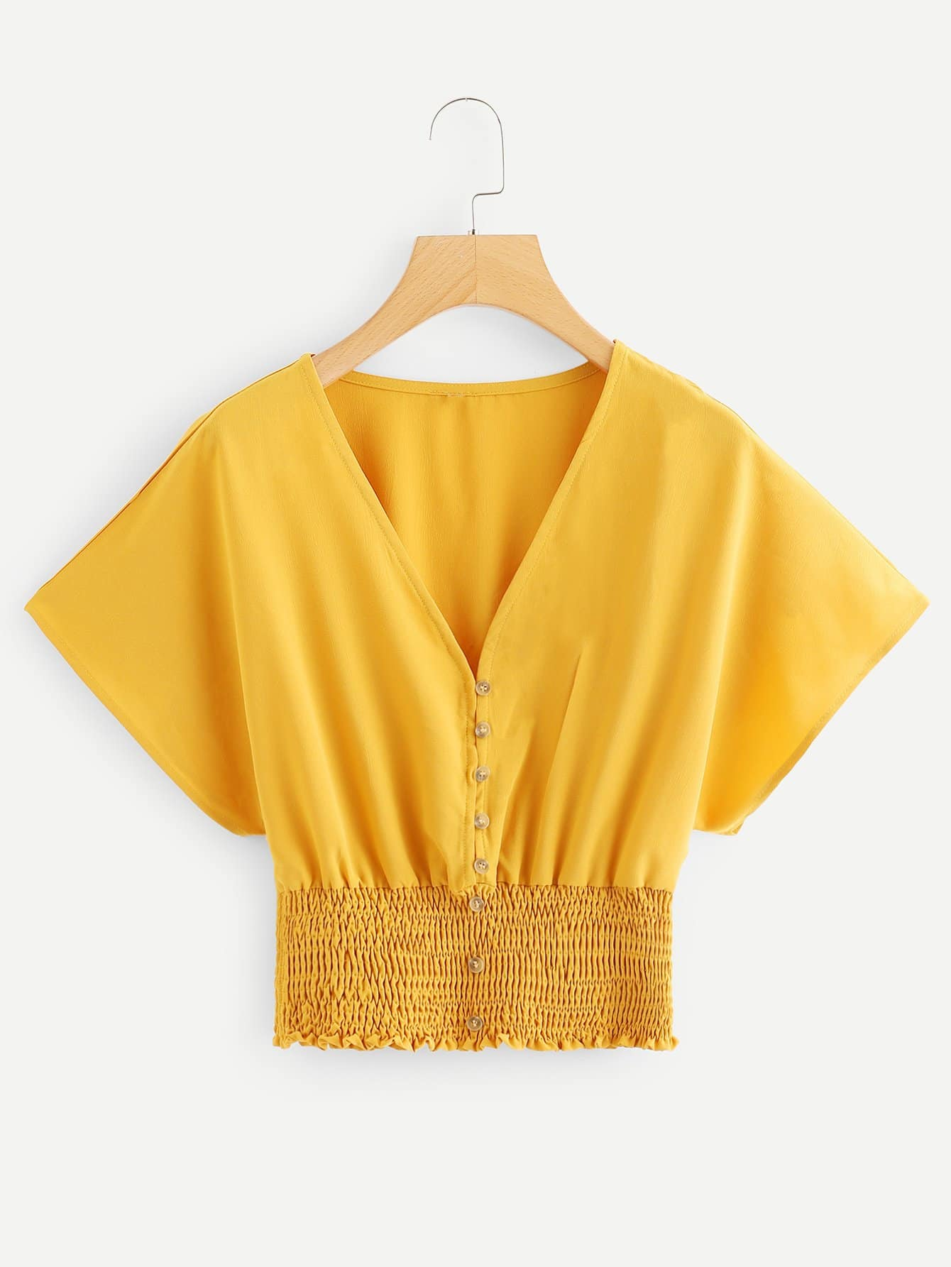 Batwing Sleeve Shirred Hem Button Up Blouse, null, SheIn  - купить со скидкой