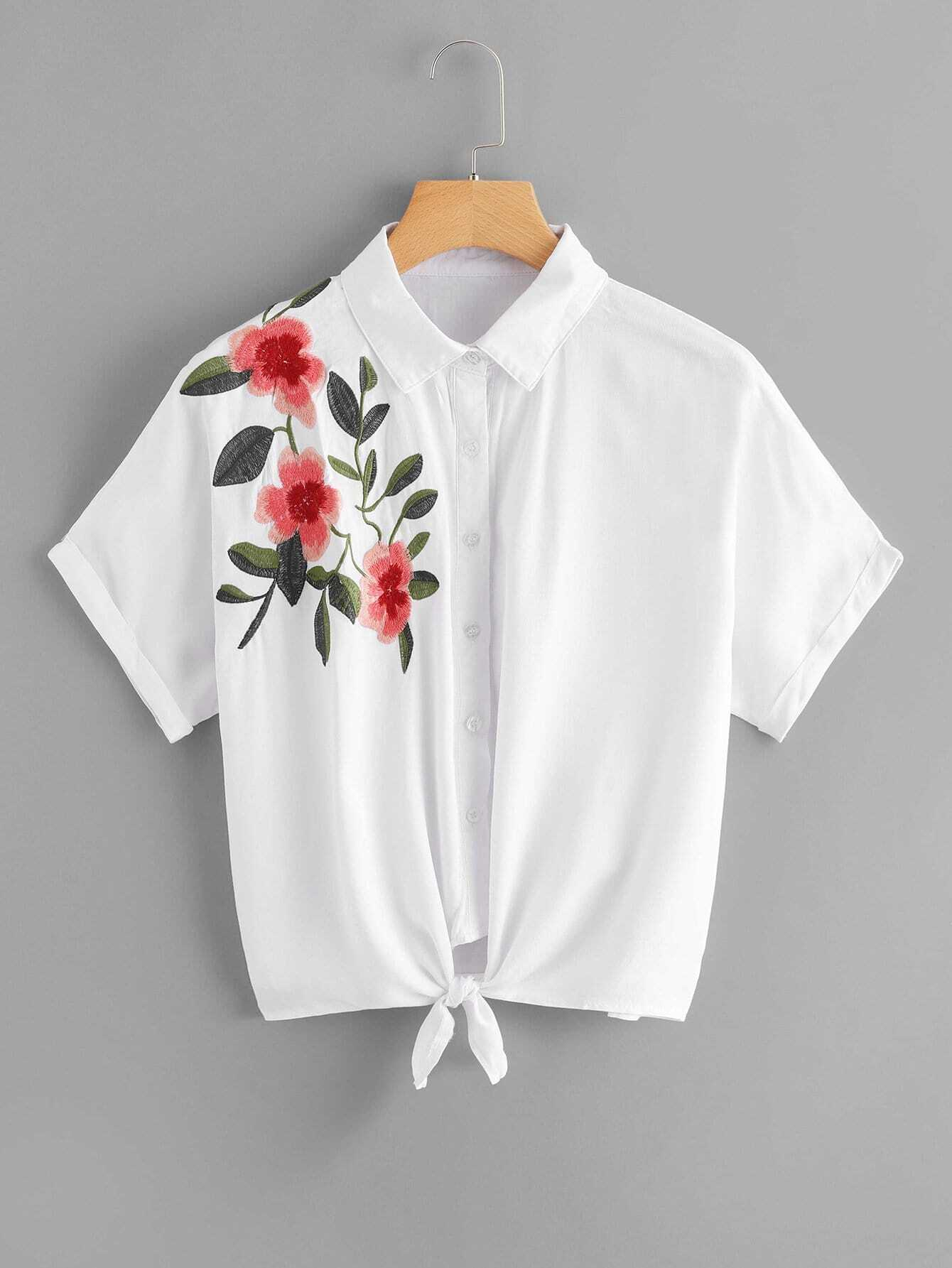 Flower Embroidered Knot Hem Blouse stand collar checked vest
