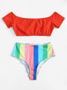 Ranbow Striped Off Shoulder Bikini Set