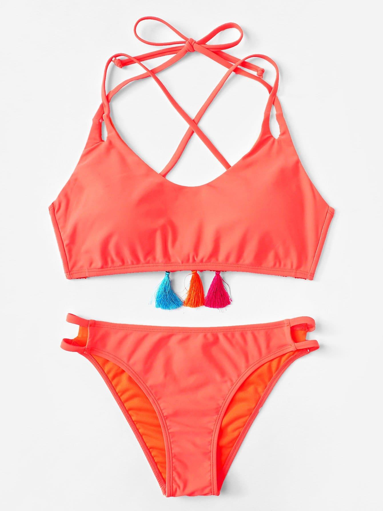 Tassel Detail Strappy Bikini Set chevron print tassel detail bikini set