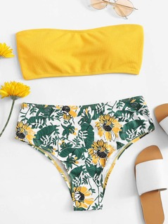 Ribbed Bandeau With Floral Print Seam Trim Bikini