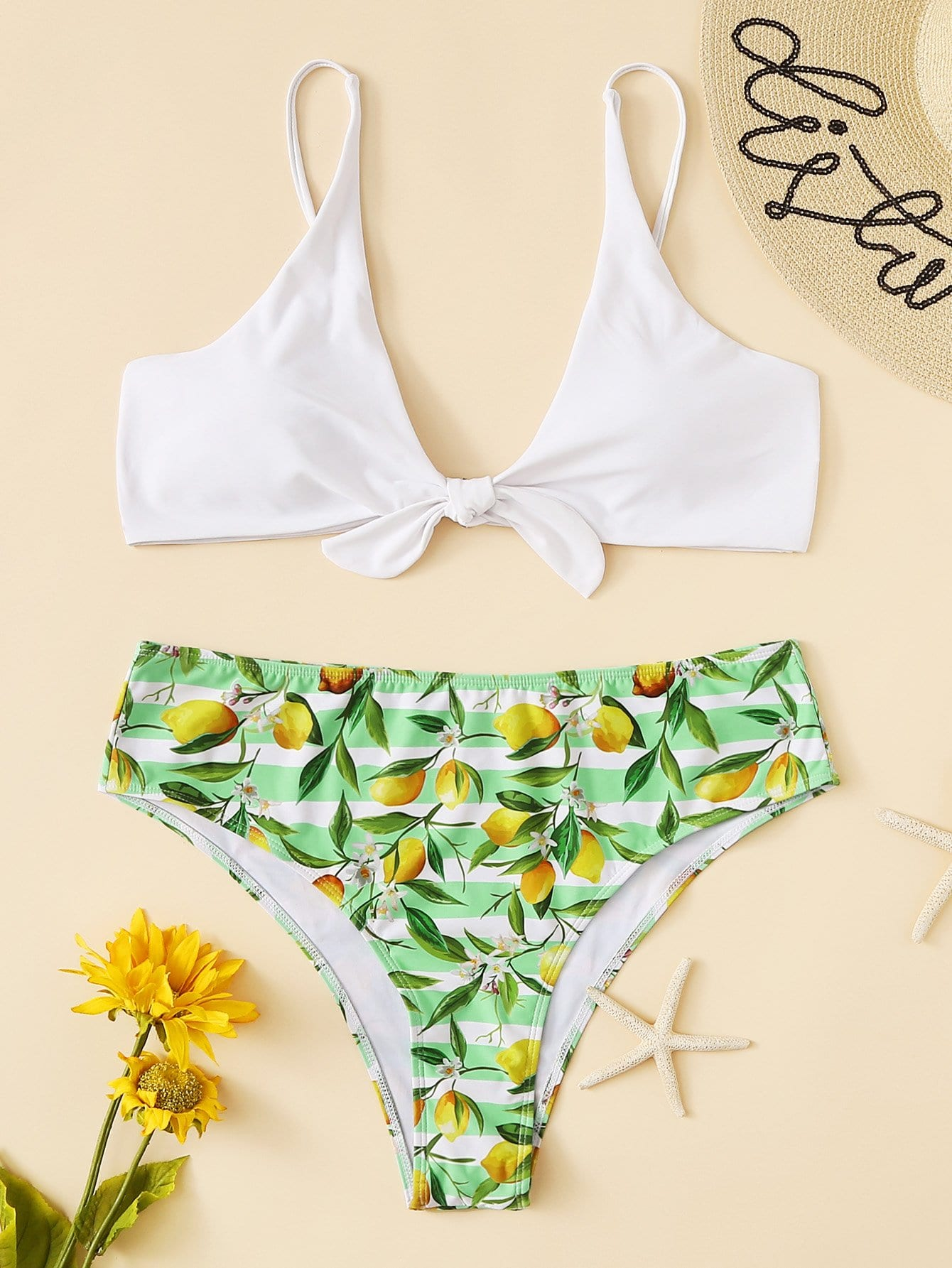 Plus Knot Front Lemon Print Stripe Bikini Set