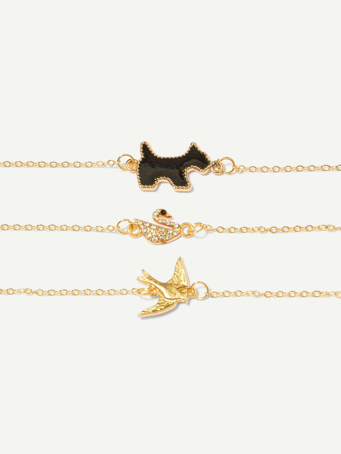 Swan & Bird Detail Bracelet Set 3pcs