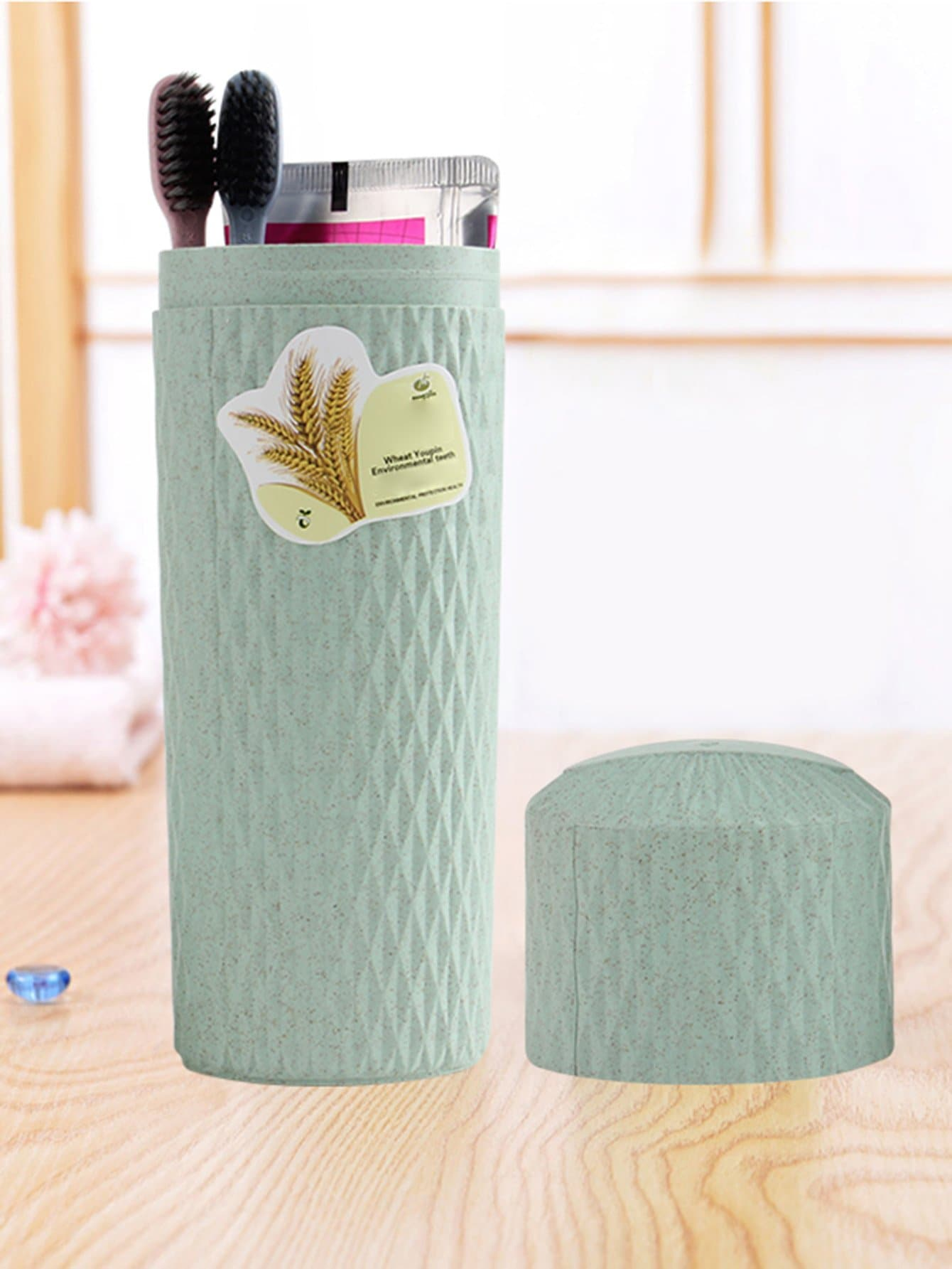 Toothbrush Holder With Lid creative wave style pp lid rack mount holder green