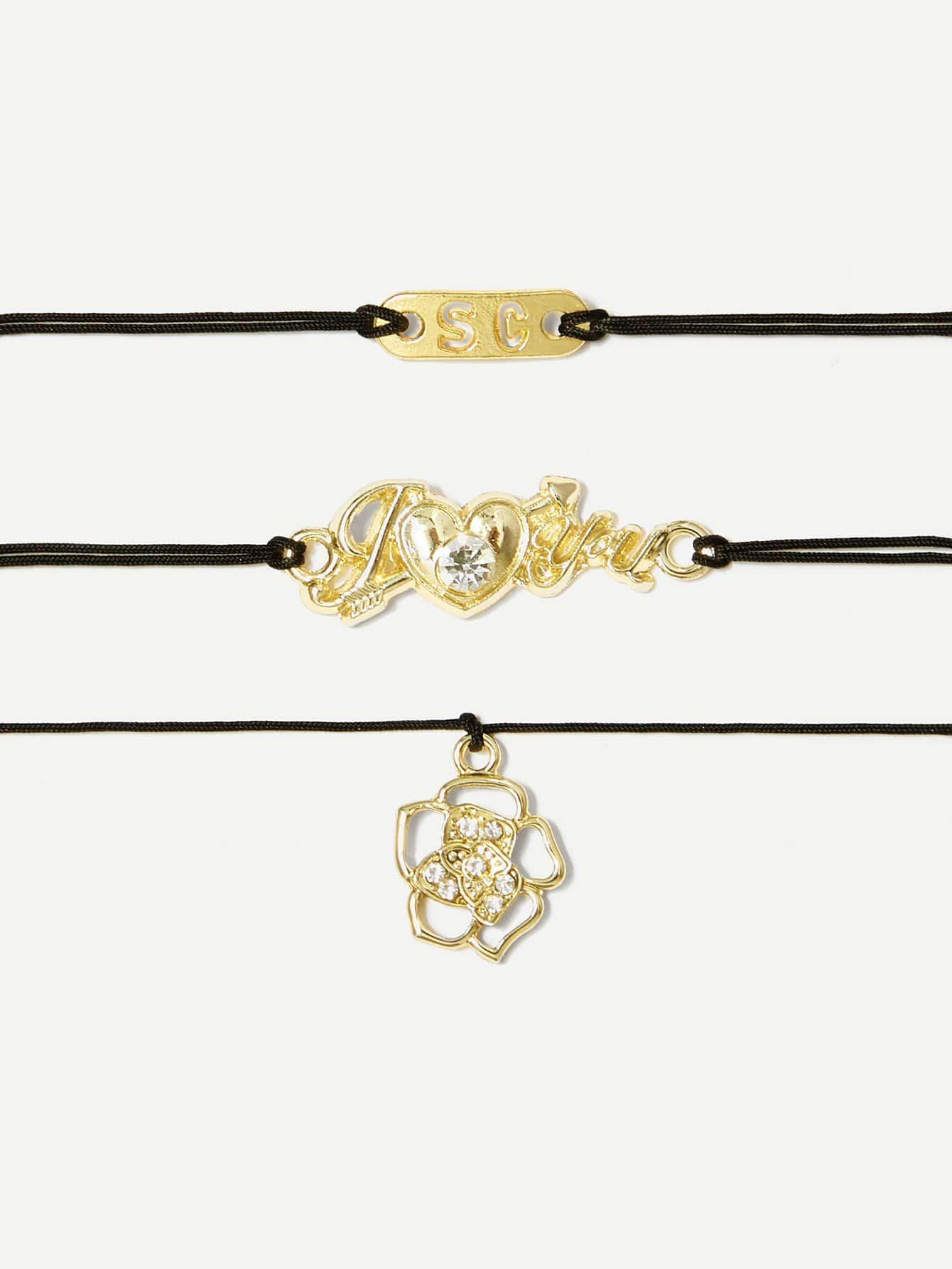 Heart & Letter Detail Bracelet Set 3pcs