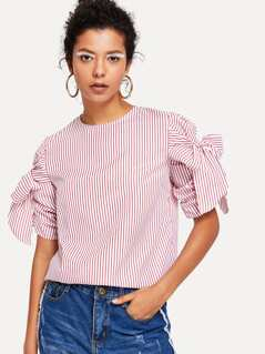 Knotted Ruched Sleeve Striped Top