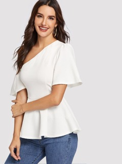 Asymmetric Shoulder Textured Peplum Top