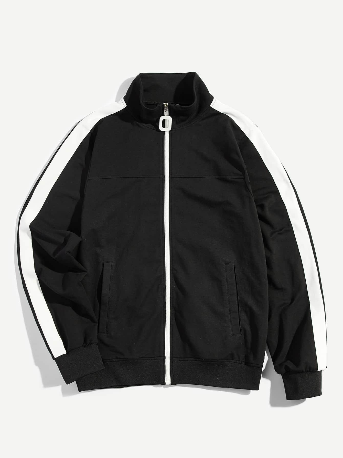 Купить Мужская контрастная панель Zip Up Jacket, null, SheIn